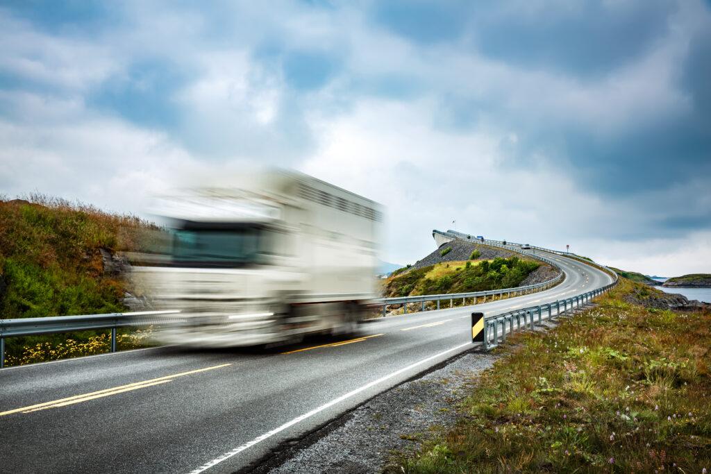 Lastbil vej fartskriver